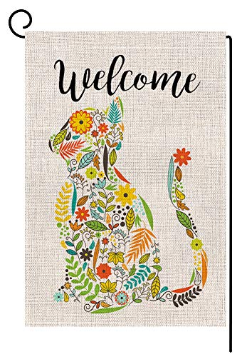Welcome Cat Small Garden Flag Vertical Double Sided 12.5 x 18 Inch Spring Summer Floral Burlap Yard Outdoor Decor