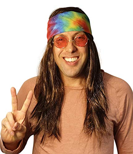 Hippie Dark Brown Wig Costume with Tie Dye Bandana 60s 70s Hippy Woodstock Festival Gear -