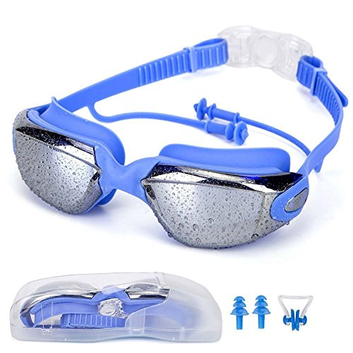 Sunshine Swimming Goggles with Anti-Fog 100% UV Protection, Comfortable Fit,Quick Release Band,No leakage Swiming Glasses - Free Nose and Earplugs - Protection Sunglasses Uv Can Lose