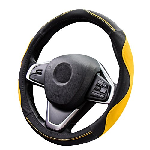 Microfiber Leather Antiskid - 15 inch Steering Wheel Cover Yellow Auto Universal On Most Car, SUV, Van & Trucks (yellow)