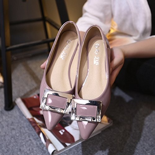 Toe Flats Slip Casual Pointed JULY Shoes for Dress Nude On Color Ballet T Comfort Women's qFw5Z