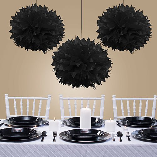 Sweet and Stylish Hanging Fluffy Balls Party Decoration, Black, Paper , 16