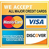 """We Accept Credit Cards Visa Mastercard AMEX Discovery 6""""x6"""" Sticker Decal Vinyl Business Sign"""