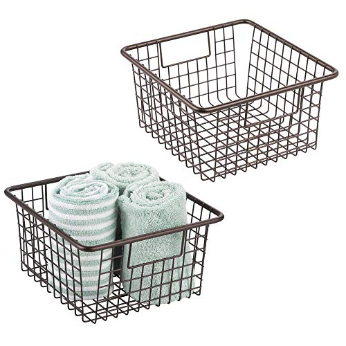 mDesign Farmhouse Decor Metal Wire Storage Organizer Bin Basket with Handles - for Bathroom Cabinets, Shelves, Closets, Bedrooms, Laundry Room, Garage - 10.25