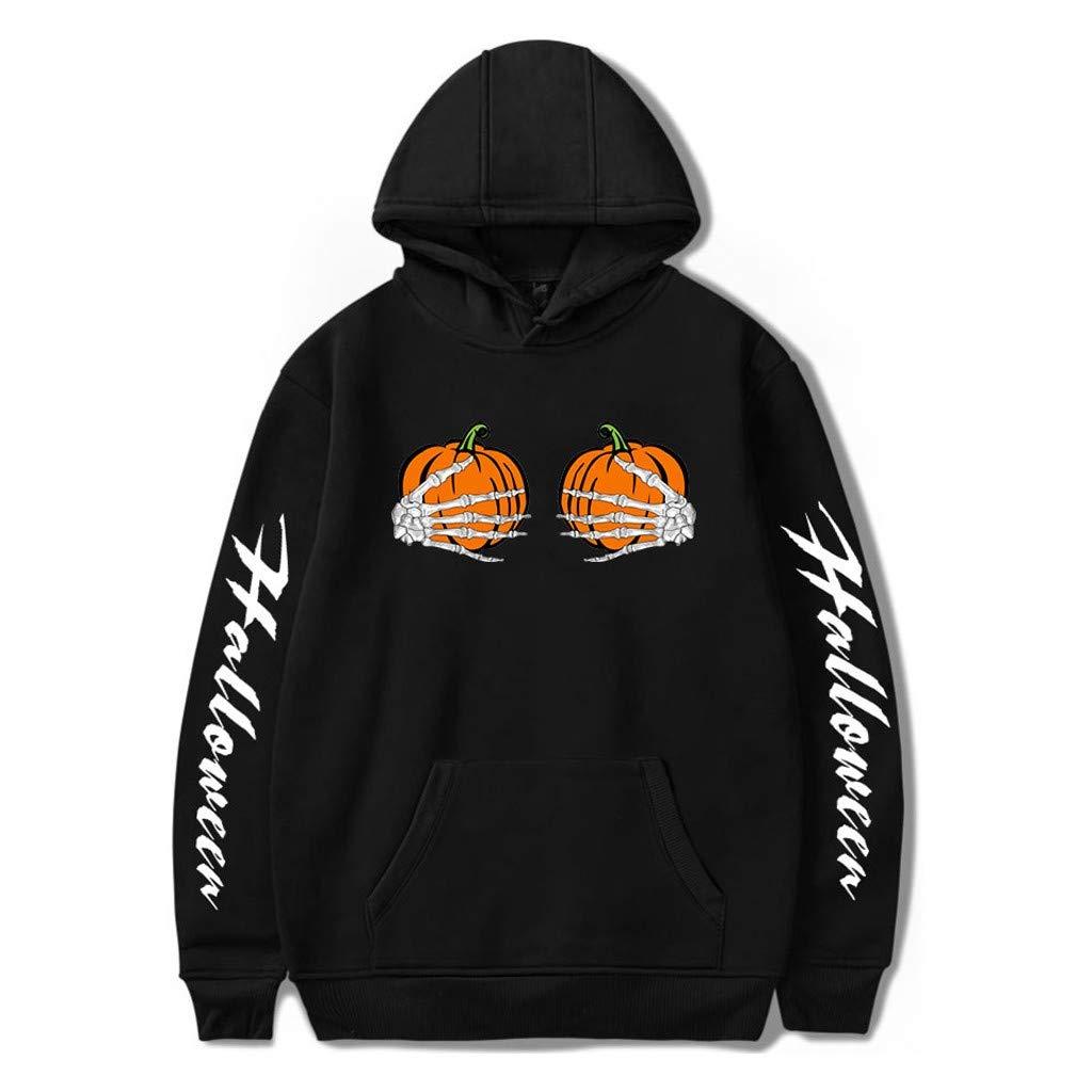 HebeTop  Lantern Pumpkin Face Halloween Funny Sweatshirt Hoodie Black by HebeTop➟Women's Clothing