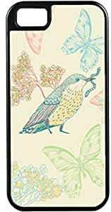 iPhone 4 4S Cases Customized Gifts Cover Artistic bird eating worm with butterflies and floral background Case for iPhone 4 4S hjbrhga1544
