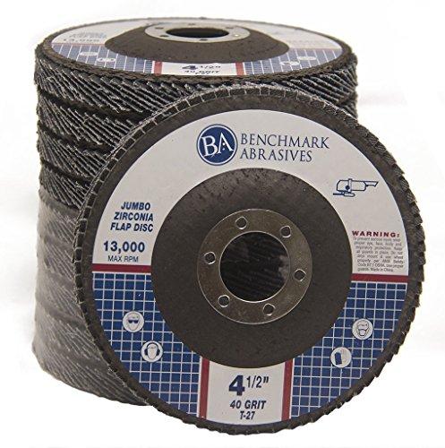 High Density Jumbo Zirconia Type 27 Flap Disc 40 Grit - 10 Pack ()