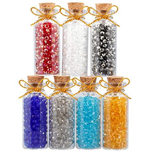 (mookaitedecor 7pcs Mini Glass Crystal Wishing Bottles Loose Beads Gemstones Healing Reiki Jewelry Making Set)