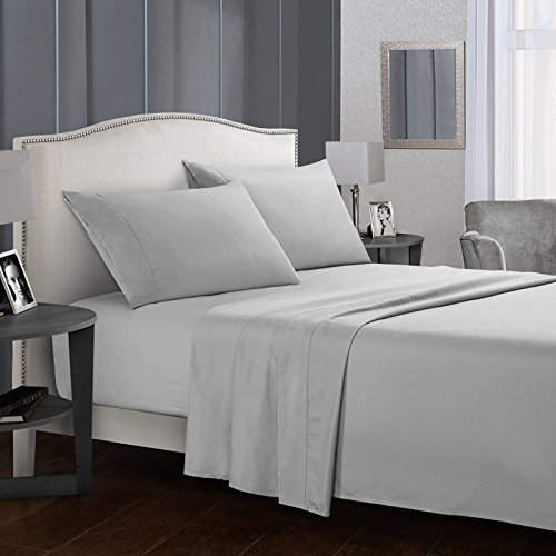 Price comparison product image Rongde 4 Pieces Bed Sheets Set,1800 Thread Count Full Size Solid Coloe Bedding Sheet Sets Deep Pockets Wrinkle Fade, Stain Free, Exact Soft and Comfort Light Grey Full