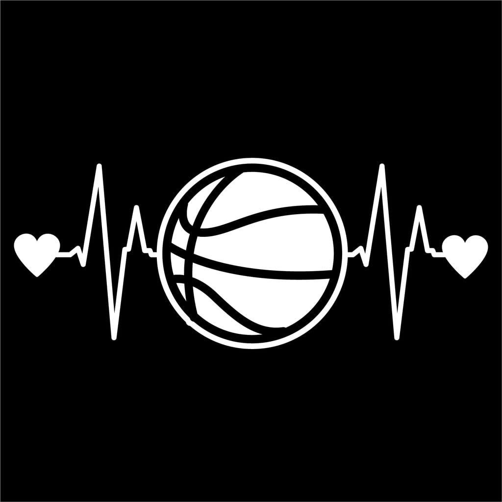 Basketball Heartbeat Vinyl Decal Sticker   Cars Trucks Vans Walls Laptops Cups   White   7.5 X 3 Inch   KCD1212