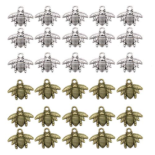 JETEHO 120Pcs Bee Charms Collection,Vintage Antique Silver Antique Bronze Alloy Insect Bee&Honeybee Charms Pendant Jewelry Findings for Jewelry Making Necklace Bracelet DIY]()