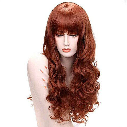 DENIYA Long Curly Wigs with Bangs Red Cosplay Hair Wigs for Women (Red Wig With Bangs)