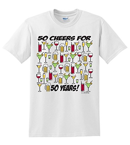 Sports Katz 50th Birthday T-Shirt 50 Cheers For 50 Years Medium Martini Short Sleeve Shirt