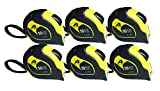 6 Items JH-376 Professional Self-lock 10-Foot by 5/8-Inch Measure Tape Yellow/Black Two Pause Buttons