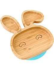 Baby Toddler Bunny Suction Plate, Stay Put Feeding Plate, Natural Bamboo (Blue)