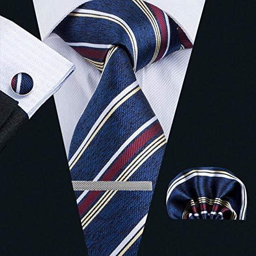 ネクタイ 4点セット ポケットチーフ カフスボタン タイピン 紺系ストライブ