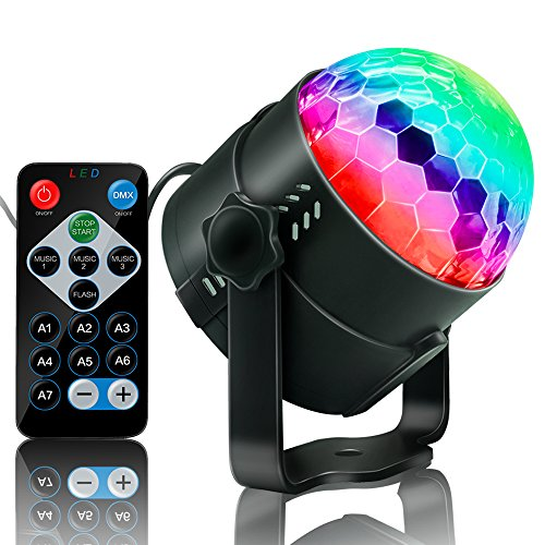Party Supplies Disco Ball DJ Lights - Sound Activated LED lights with Remote Control RGB Strobe Lamp Stage Light for Home Dance Birthday Bar Karaoke Wedding Show ()