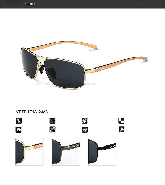 VEITHDIA polarizadas Aviator Gafas de sol 100% UV400 protección para hombres pesca, Ciclismo, Golf, kayak, y deportes activos (2458): Amazon.es: Ropa y ...