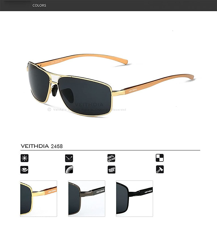 veithdia Polarisierte Aviator Sonnenbrille 100% UV400Schutz für Herren Angeln, Radfahren, Golf, Kayaking, und Active Sports (2458), gold, 2458