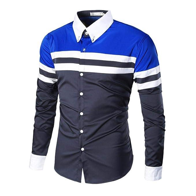 Yvelands Camisa Ocasional de los Hombres, Hombres Moda Patchwork Blusa Camisas de Manga Larga Ocasionales Camisas Delgadas Camiseta Rayas Tops Estampados: ...
