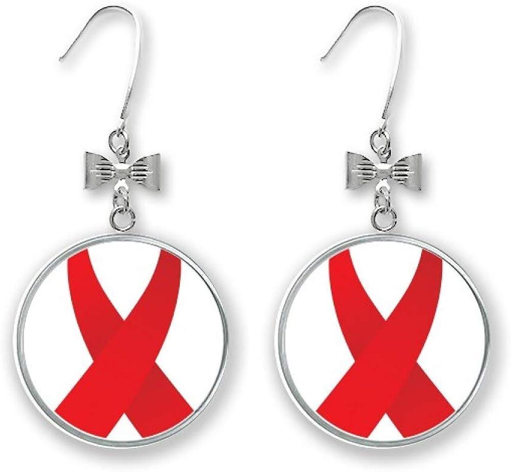Hanging Large Red /& White Ribbon Awareness Earrings