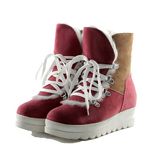 AllhqFashion Womens Round Closed Toe Low-Heels Frosted Low-top Assorted Color Boots Pink wu912