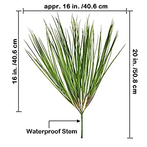 "besttoyhome 2 Pcs Fake Artificial Wheat Grass Plants Spray Faux Plastic Onion Grass Bundle in Green 20"" Tall X16 Wide Weather Resistant for Outdoor Indoor Greenery Centerpiece Floral Wedding Decor 2"