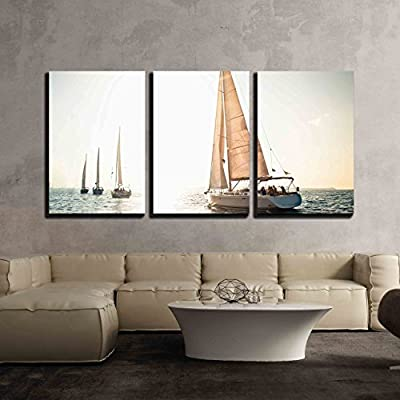 3 Piece Canvas Wall Art - Sailing Ship Yachts with White Sails in a Row - Modern Home Art Stretched and Framed Ready to Hang - 24