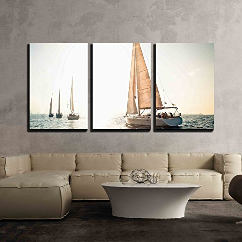 wall26 - 3 Piece Canvas Wall Art - Sailing Ship Yachts with White Sails in a Row - Modern Home Decor Stretched and Framed Ready to Hang - 24