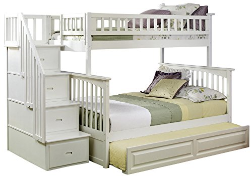 Columbia Staircase Bunk Bed with Trundle Bed, Twin Over Full, White