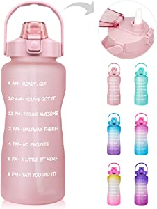 64 OZ/Half Gallon Motivational Water Bottle with Time Marker & Straw - BPA Free Leakproof Tritan Frosted Plastic Big 2L Water Bottle Women Men Large Water Jug for Office Sport