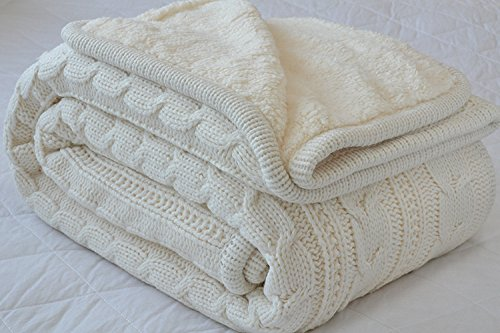 (Comforbed Classic All Season Soft Cable Sweater Knitting Throw Blanket Quilted Throws with Sherpa Lining for Bed Sofa Couch Decor Cream 51x63 Inch)