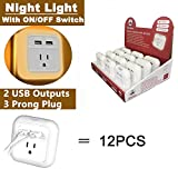 Dual USB Wall Charger with Nightlight 12 PACK - for iPhone 6/7/7/8 plus/iPhone X/galaxy s7 s8/note 8 Android iWireless USA iPower White