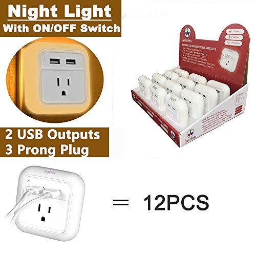 iWireless USA iPower Wall Charger Fast Charging With LED Night Light Dual USB Port For iPhone 6/7/7/8 plus/iPhone X/galaxy s7 s8/note 8 Android USB Wall Charger Multi Port (White-12pcs) by iWireless USA (Image #7)