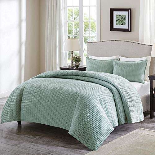 Comfort Spaces Kienna 3 Piece Quilt Coverlet Bedspread Ultra Soft Hypoallergenic Microfiber Stitched Bedding Set, King, Seafoam