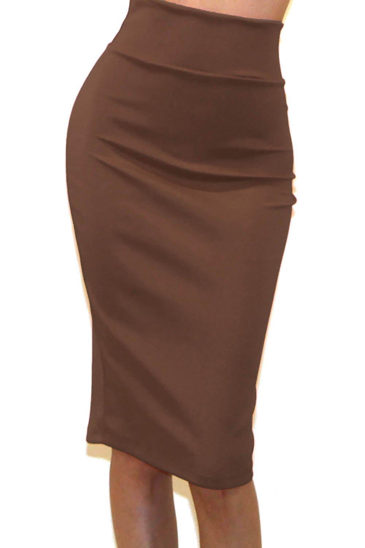 Vivicastle Women's High Waist Band Bodycon Career Office Midi Pencil Skirt (Medium, II4, Mocha)
