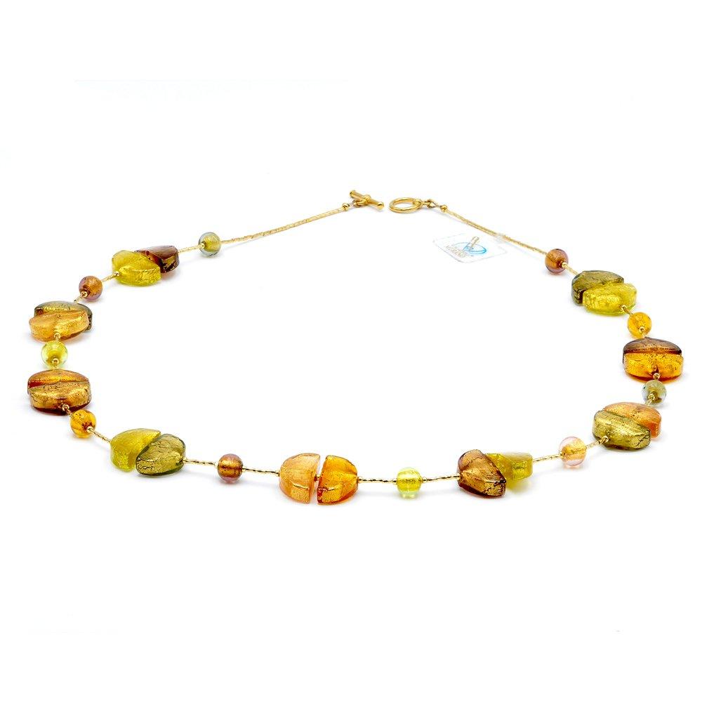 Collana elegante oro e vetro di Murano, Coloreado vero oro gioiello di Venezia