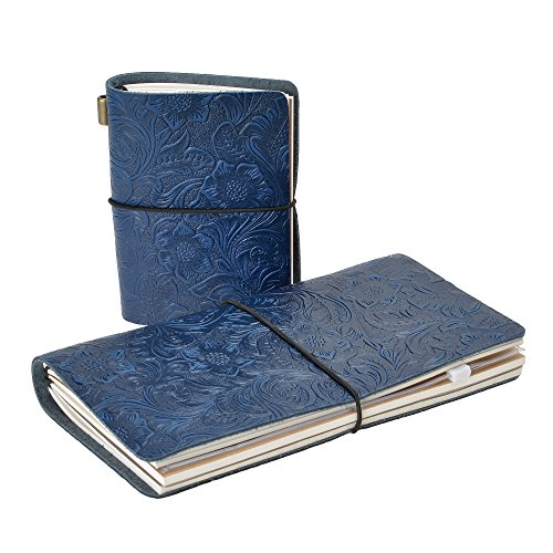 Refillable Leather Notebook Vintage Flower Embossed Travel Journal Diary Set, 4.7