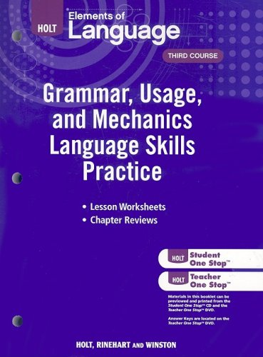 Elements of Language: Grammar Usage and Mechanics Language Skills Practice Grade 9 by HOLT, RINEHART AND WINSTON
