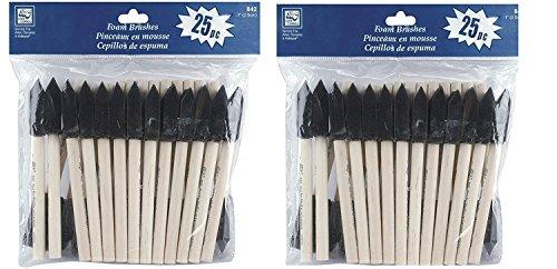 Loew Cornell 842 25-Piece Foam Brush Set, 1-Inch 2 Pack (Total 50)