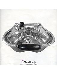 eMark Beauty Round Polished Stainless Steel Shampoo Bowl Shampoo Sink Barber Beauty Salon TLC-1368