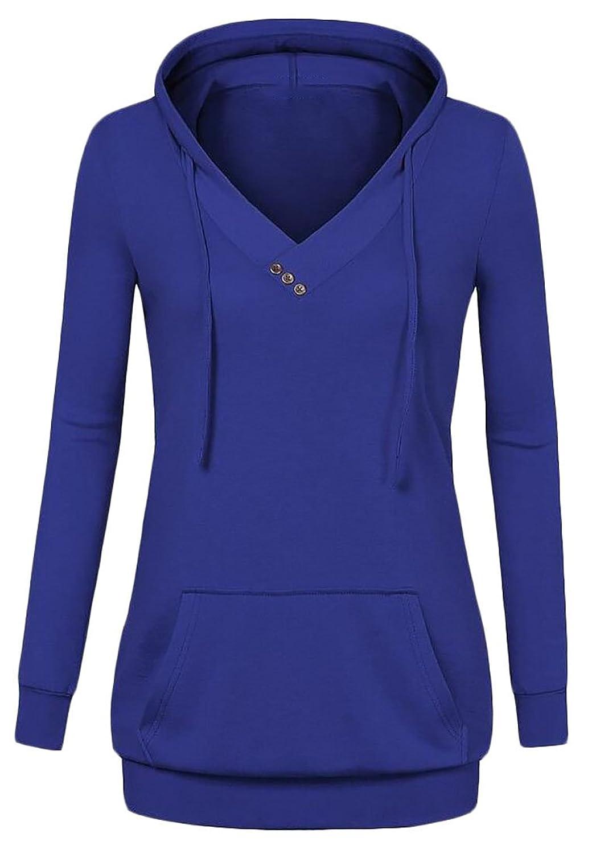 pujingge Women's Long Sleeve V Neck Casual Pullover Sweatshirts Tunic Hoodies