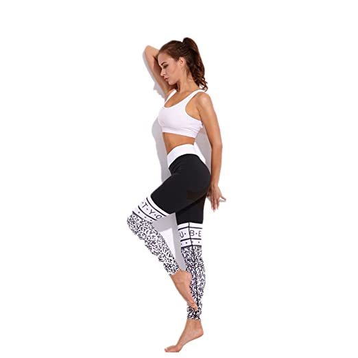 Zgsjbmh Pantalones de Yoga Letter Print Black Sports Fitness ...