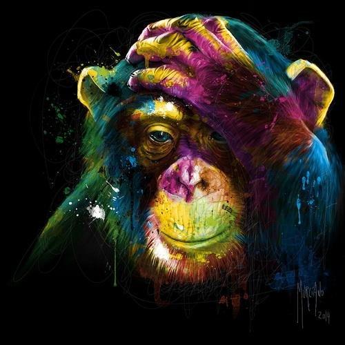 ZXP Peinture Moderne Art Singe Orangutan Noir Jet d'encre impression Sur Toile Chambre Salon Fresques Murales Décorer Étirement Et Cadre Prêt À Accrocher 50 cm × 50 cm wexe.com