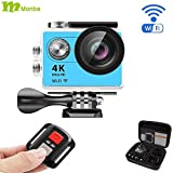 Monba ME10(Blue Color) 4K Sports Action Camera waterproof wifi camcorder 12MP 170 Ultra Wide Angle- 2x1050mAh Batteries portable package Accessory Set and Wireless Remote control