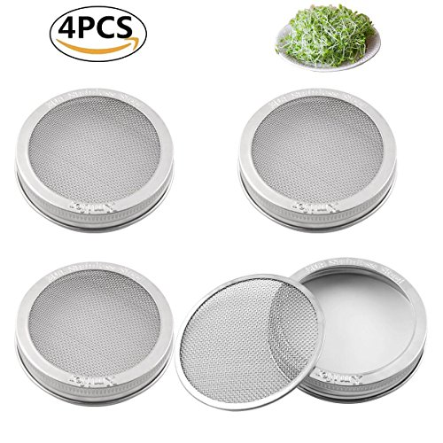 Sprouting Jar Strainer Lid - For Growing Organic Sprouts & Sprouter Screens - 304 Stainless Steel -