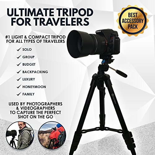 Lightweight Travel Tripod 48 Inch | Bluetooth Remote, Phone Mount, GoPro Mount, Carrying Bag | Premium Aluminum | Digital Camera, Android, DSLR, iPhone X, 8, 7, 6 Plus, Samsung Galaxy | Photo, Video by Explore More Creative Co. (Image #1)