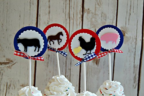 (Vintage Chic Farm Themed Birthday Party Cupcake Toppers, Boys Barnyard Animals Party Decorations (set of 12))