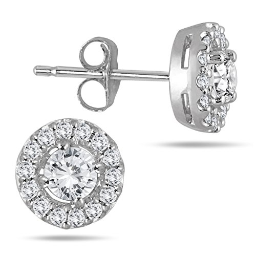 AGS Certified 3/8 Carat TW Diamond Halo Earrings 10K White Gold (K-L Color, I2-I3 Clarity) ()