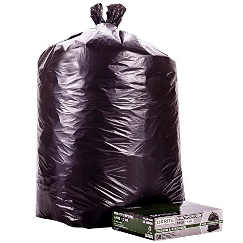 Price comparison product image 50-55 Gallon Trash Bags by OXRITE / Individually Folded,  Heavy Duty Trash Bags,  1.5 Mil Thick,  50 Count,  Black Garbage Bags